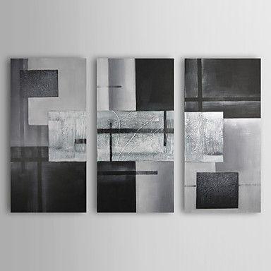 pintados à mão pintura a óleo abstrata, com quadro esticado - conjunto de 3 – BRL R$ 417,17