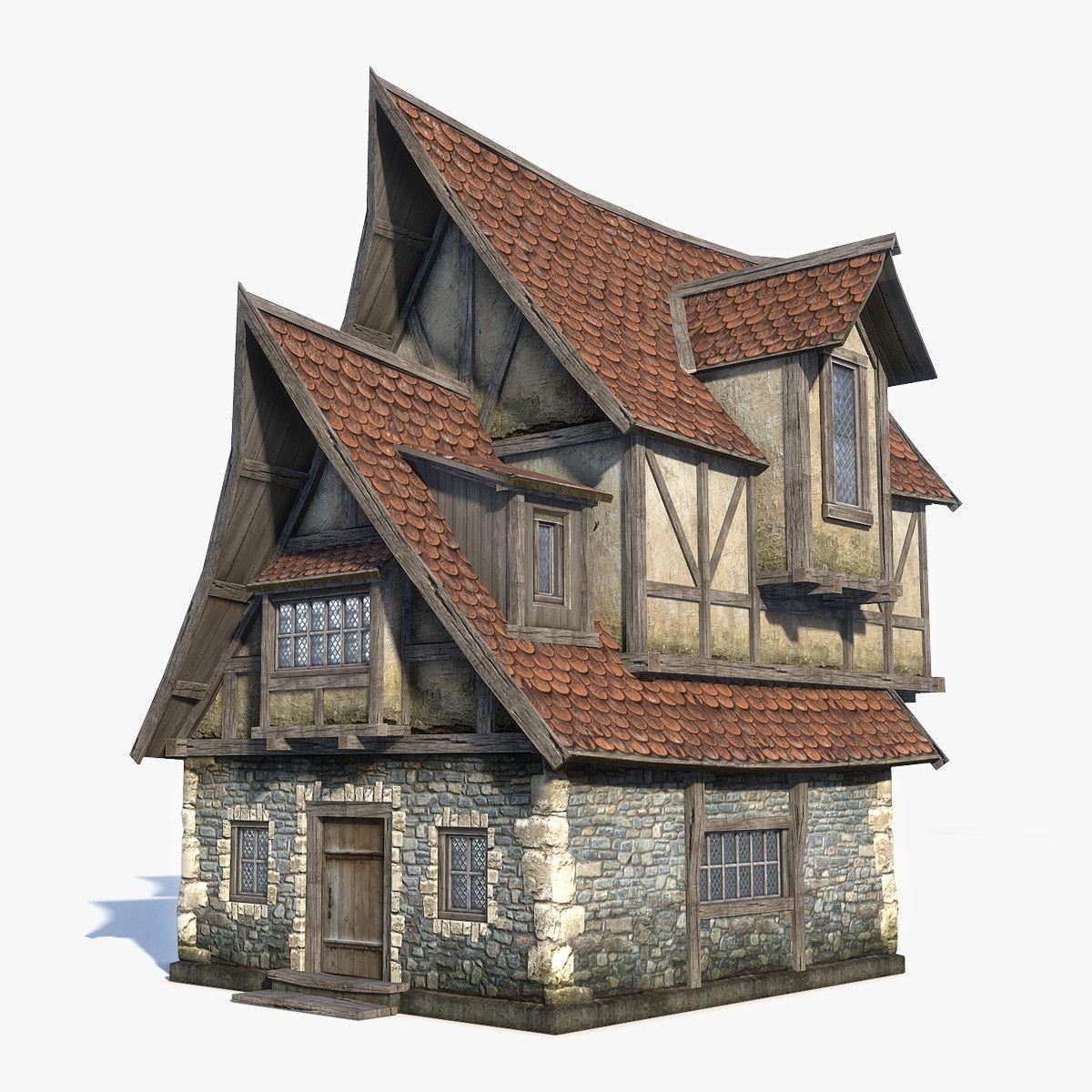 Maison En Ruine Dessin stock game low-poly 3d-model of fantasy / medieval house