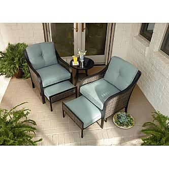 Beautiful Garden Oasis Nichols 5pc Mixed Media Seating With Pull Out Ottomans, Side  Table, $499.99