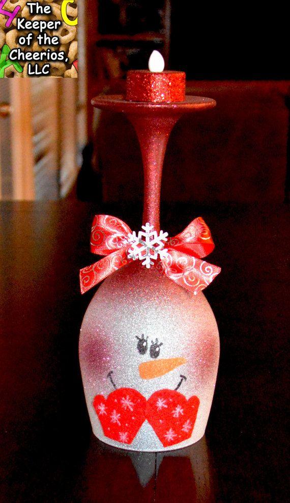 Ähnliche Artikel wie Schneemann-Glas Wein-Kerze-Halter-Pick 1 auf Etsy