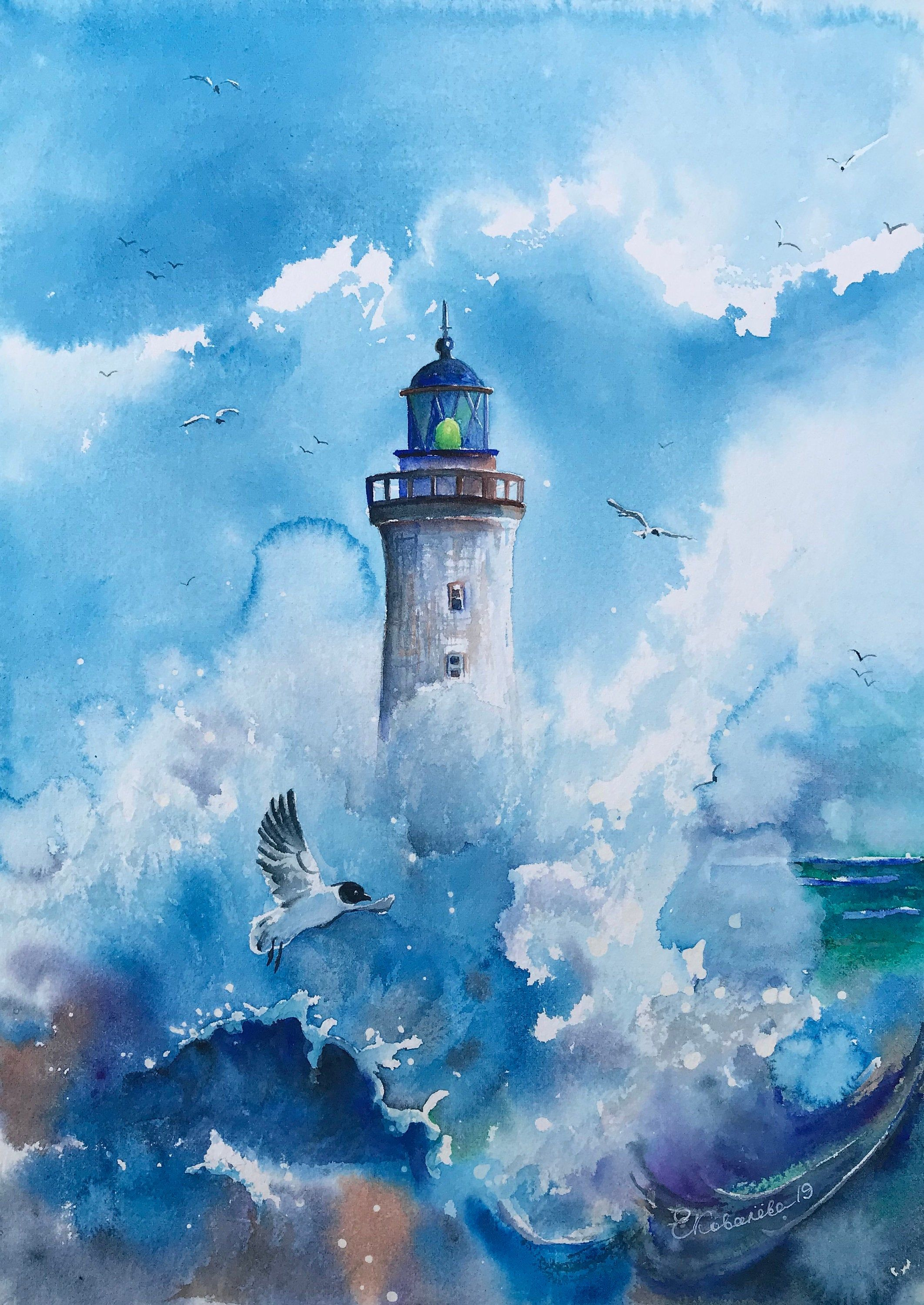 Seascape Watercolor Lighthouse Painting Original Watercolor
