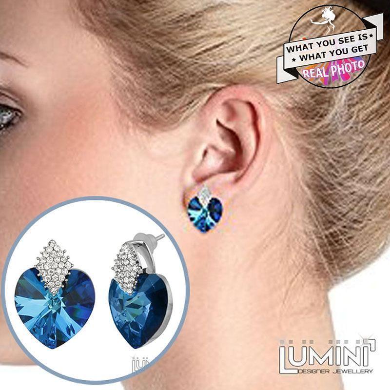 Lumini blue ice queen heart stud earrings order on