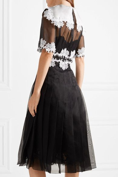 3acacccc973 Dolce & Gabbana - Lace-trimmed Pleated Silk-blend Organza Dress - Black