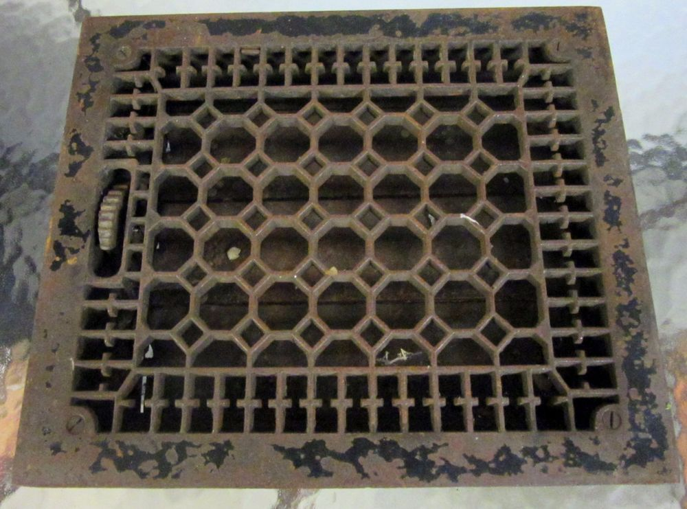 "Antique Cast Iron Floor Grate 13 7/8"" x 12"" Heat Grate Register with Louvers"