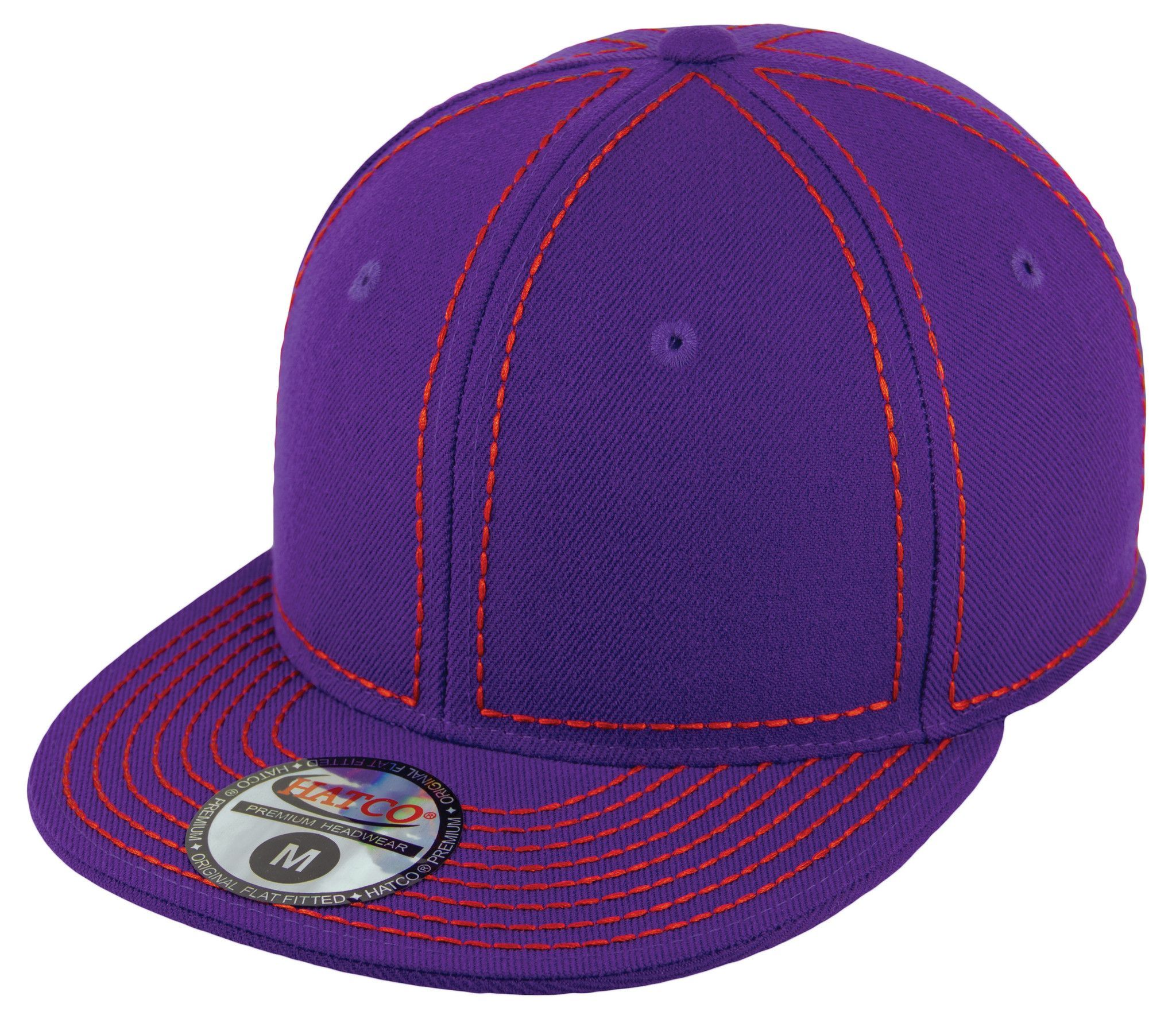 Blank Heavy Stitch Fitted Cap - Purple/Red