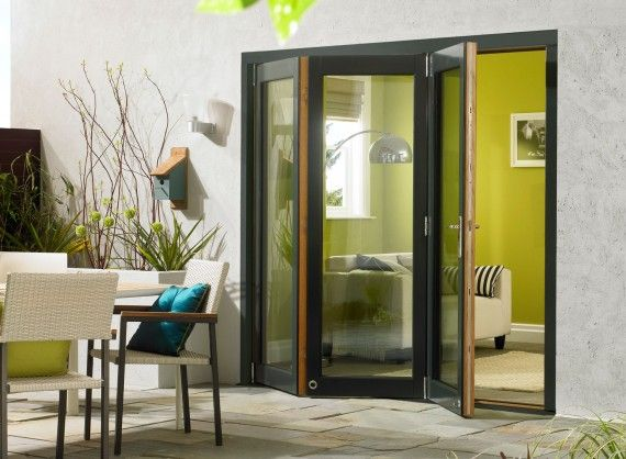 Ultra 1 8m Approx 6ft Grey Aluminium Oak Triple Glazed Oak Bifold Doors External Bifold Doors Exterior Doors With Glass