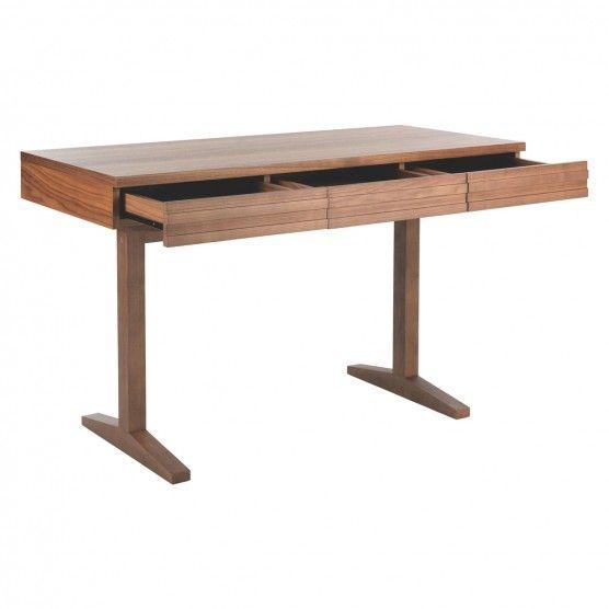 ENZO 3 Drawer Walnut Stained Desk