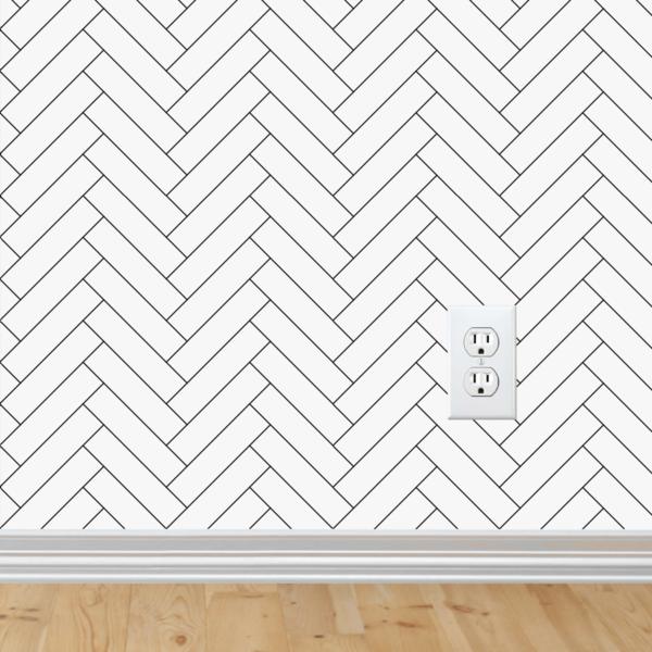 Monochrome Herringbone Wallpaper Peel Stick Herringbone Wallpaper Removable Wallpaper Fabric Wall