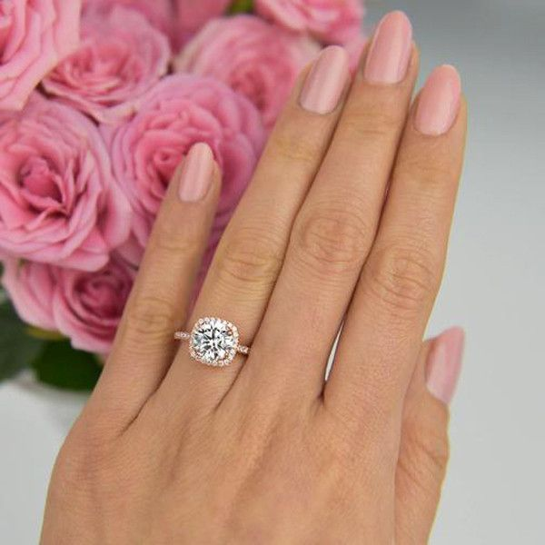2 25 Ctw Square Halo Ring Rose Gold Wedding In 2018 Pinterest