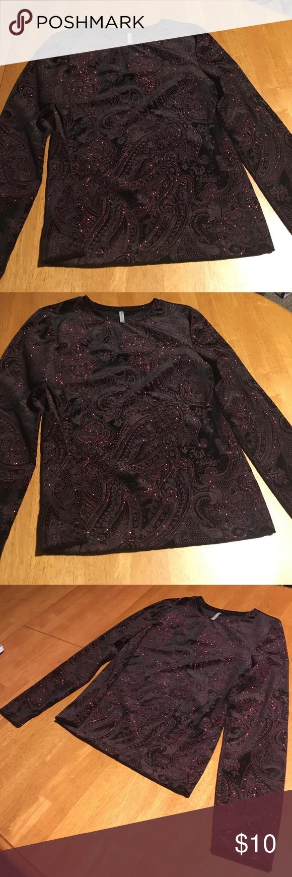 Sparkling Velvet Holiday Shirt Black velvet with a lovely pattern and plenty of soft red sparkle. White Stag Tops