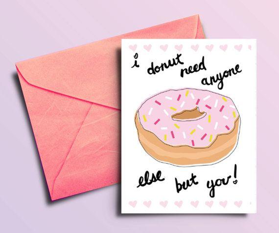 Donut Printable Valentine Card Funny Food Valentine by BAECKANN – Funny Printable Valentine Cards