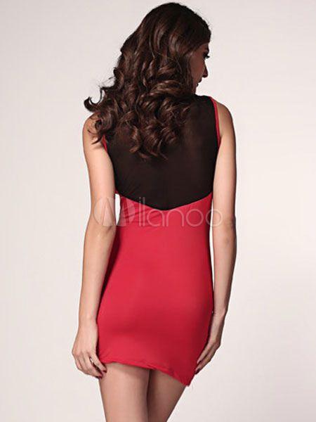 Red Crewneck Sleeveless Sheer Club Dress - Milanoo.com