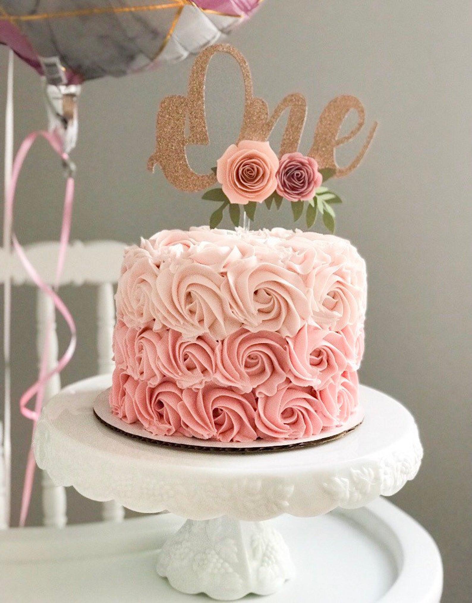 Enjoyable One Year Old Cake Topper Floral Cake Topper Glitter Cake Topper Funny Birthday Cards Online Inifodamsfinfo