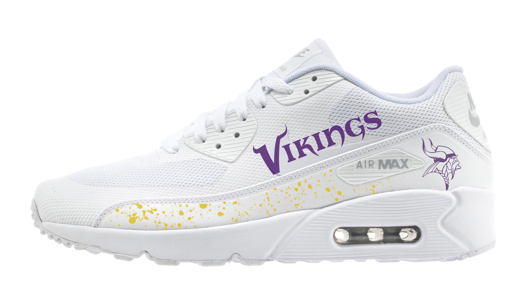 promo code af078 24659 Authentic Nike Air Max 90 sneakers featuring the Minnesota Vikings logos  print design. Request a Custom Order and have something made just for you.