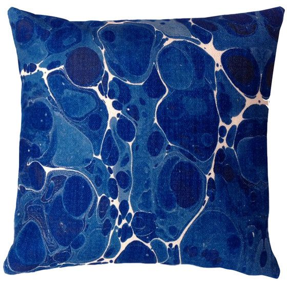 Cushion - Marble - Blue and White - Kerrie Brown