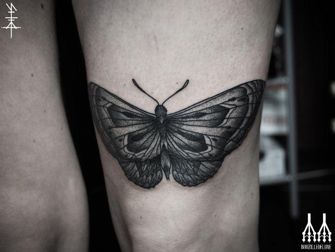 Above The Knee Black Grey Moth Tattoo By Neal Panda Knee Tattoo Inspirational Tattoos Tattoos