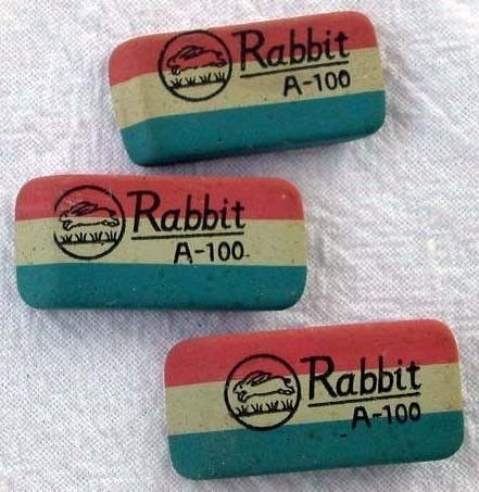 3 Vintage Erasers Quick Like a Bunny Racing Rabbits