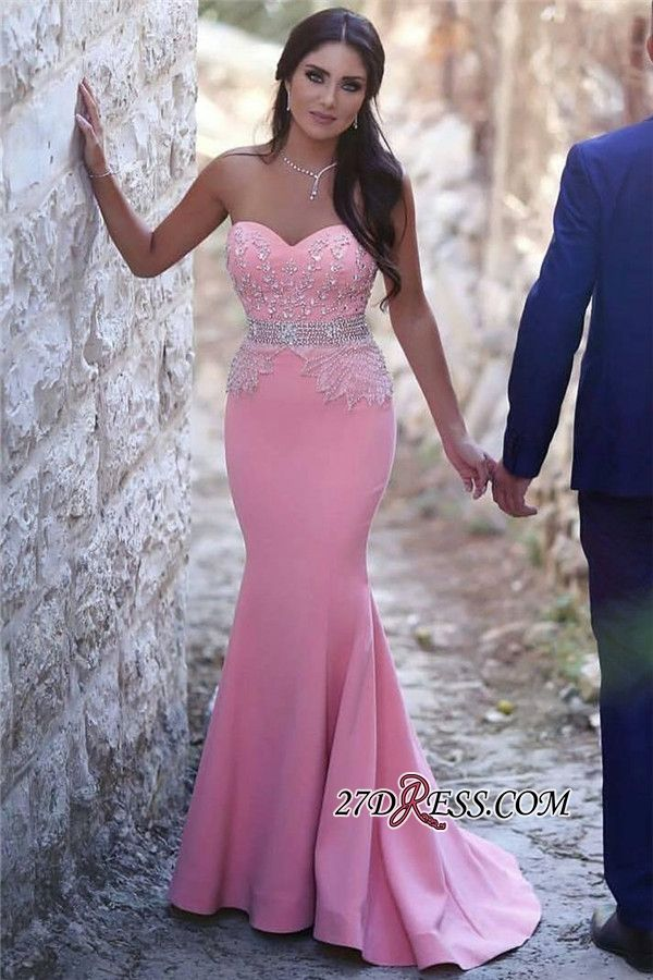 Pretty Pink Sweetheart Mermaid Beads Sleeveless Crystals Sequins ...
