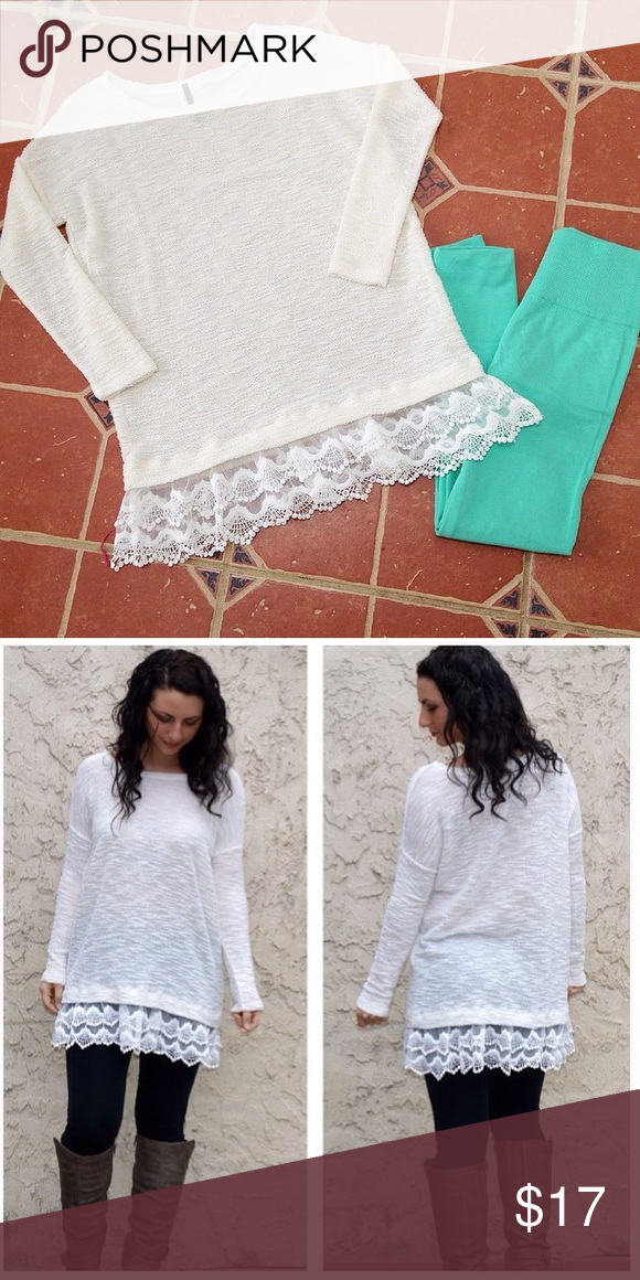 ✨ Boutique ✨Beautiful White Sweater | White sweaters, Lace ...