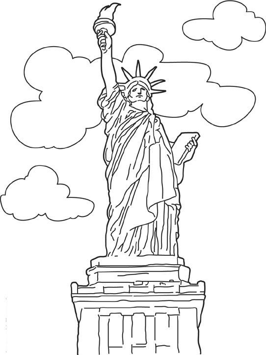 kleurplaat Wereld wonderen - Vrijheidsbeeld, New York | NY | Pinterest