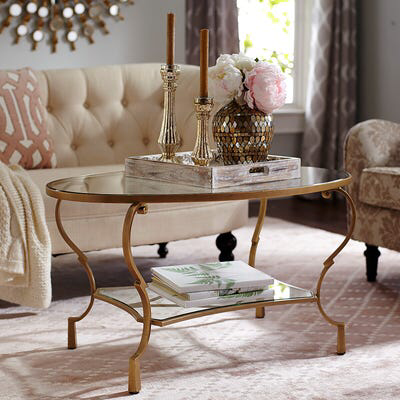 Chasca Glass Top Gold Oval Coffee Table With Images Oval Glass