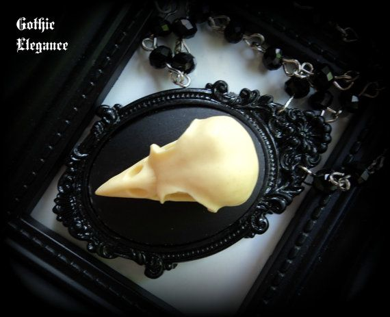 Large Replica Birdskull Cameo Necklace by GothicElegance on Etsy