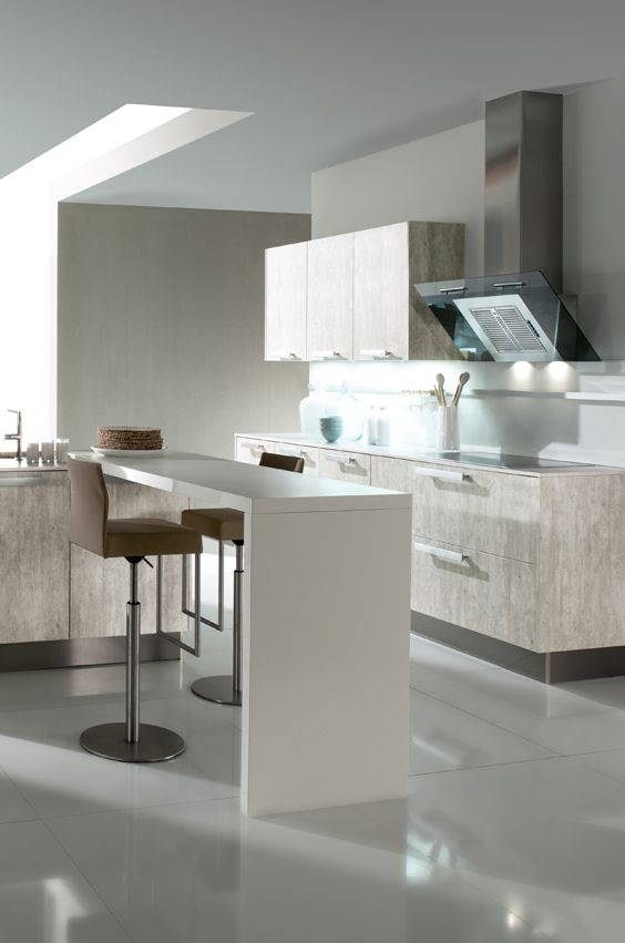 Eine Betonküche lässt sich toll mit weißen Küchenelementen - tresen für küche