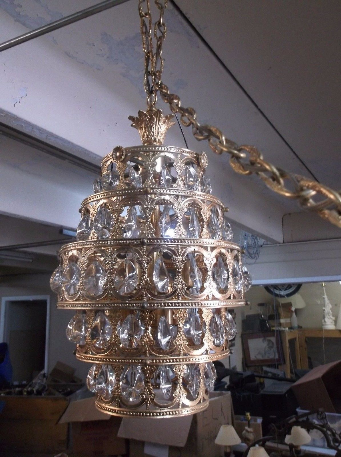 Antiques gifts antique gold five tier glass crystal chandelier antiques gifts antique gold five tier glass crystal chandelier king louis style collectors arubaitofo Gallery