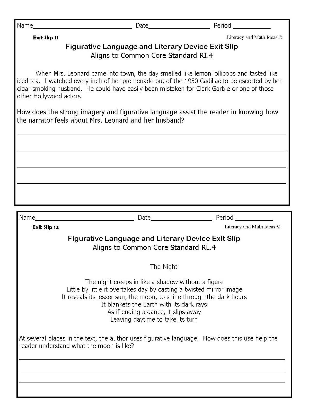 Literacy Math Ideas Figurative Language Figurative Language Middle School Figurative Language Lessons