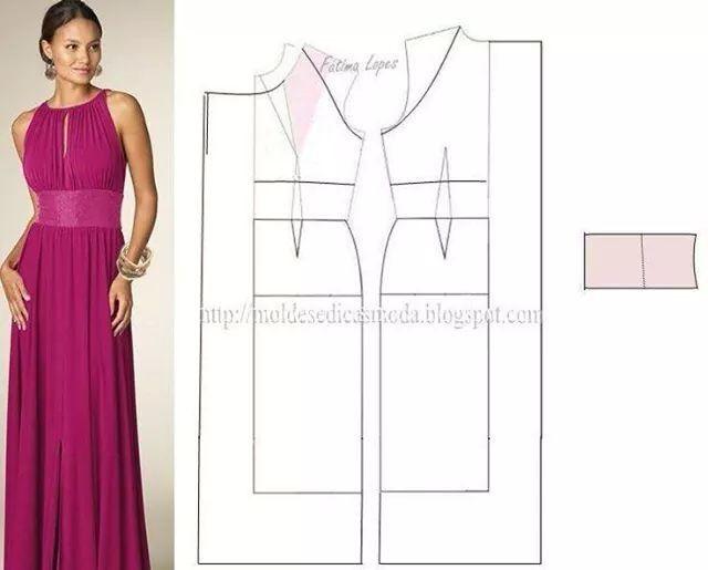 vestido patron | patrones | Pinterest | Patrones, Costura y Molde