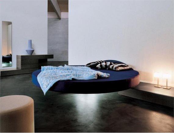 Magnet Bedroom Furniture: Cool Round Shape Floating Bed ...