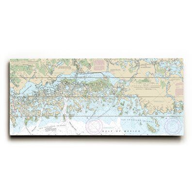 Longshore Tides Accent your walls with a Nautical Chart printed directly on planked wood for a rustic nautical look.