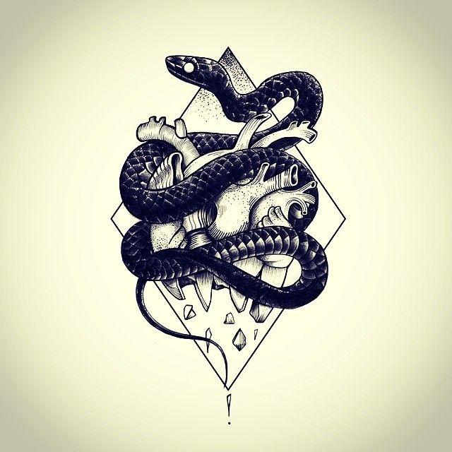 snake heart tattoo flash by Miss Sita @ One O Nine Barceloan www.109.es