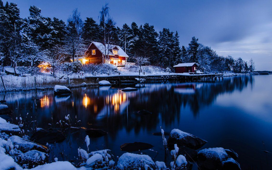 Winter Holiday Night At The Cottage In The Mountain Free Image Download High Resolution Wallpaper Winter Cabin Winter Wallpaper Winter Wallpaper Hd