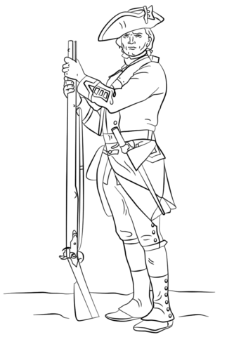 British Revolutionary War Soldier Coloring Page