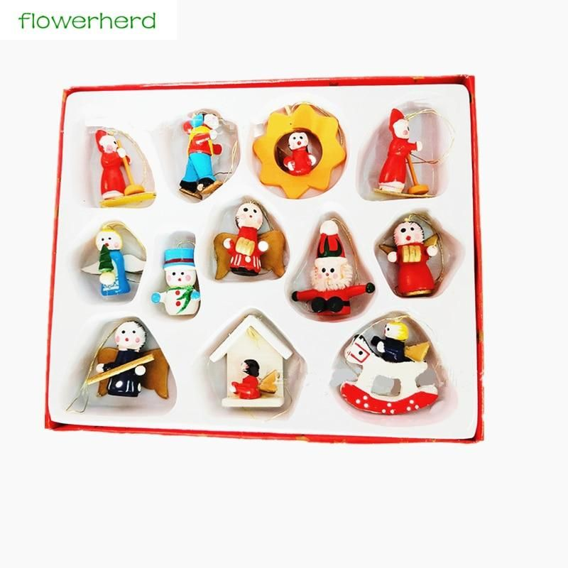Christmas Tree Decoration Wooden Christmas Tree Small Doll Pendant Christmas Crafts Gift Set Gift Box Product Name: Christmas doll pendant Material: wood Size: 10/12 set Weight: 47g #traditionellesdekor