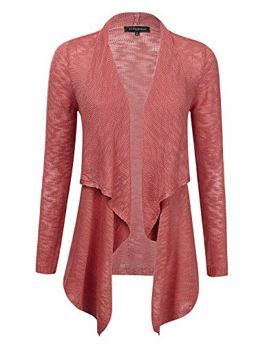 JJ Perfection Womens Knit Draped Open Front Long Sleeve Cardigan BRICK L      Click on the image for additional details. 22afb1f2a