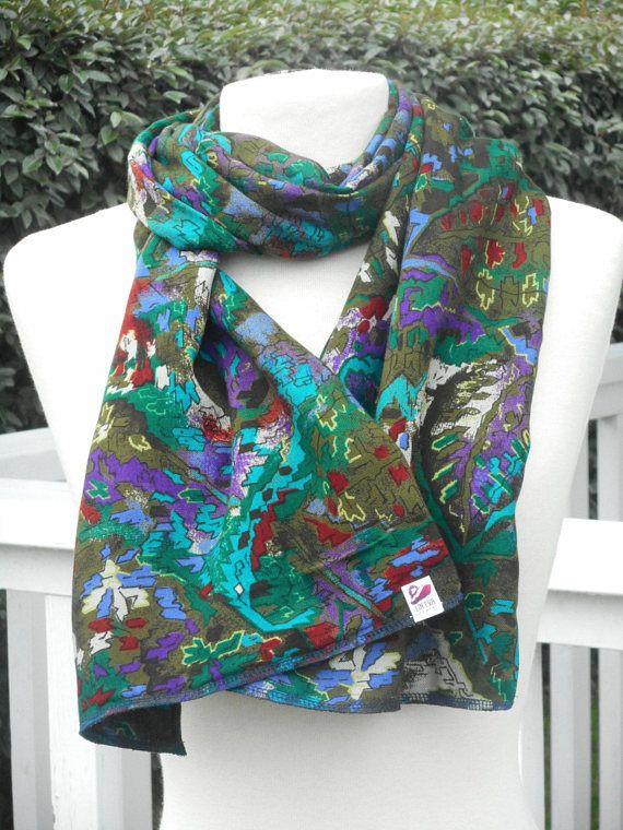 Etole écharpe foulard imprimé kaki vert et lie de vin femme ... 04e289da999