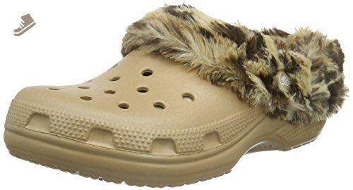 8e47b8dddc3a9 crocs Unisex Classic Mammoth Lined Graphic Mule, Gold/Gold, 10 US ...