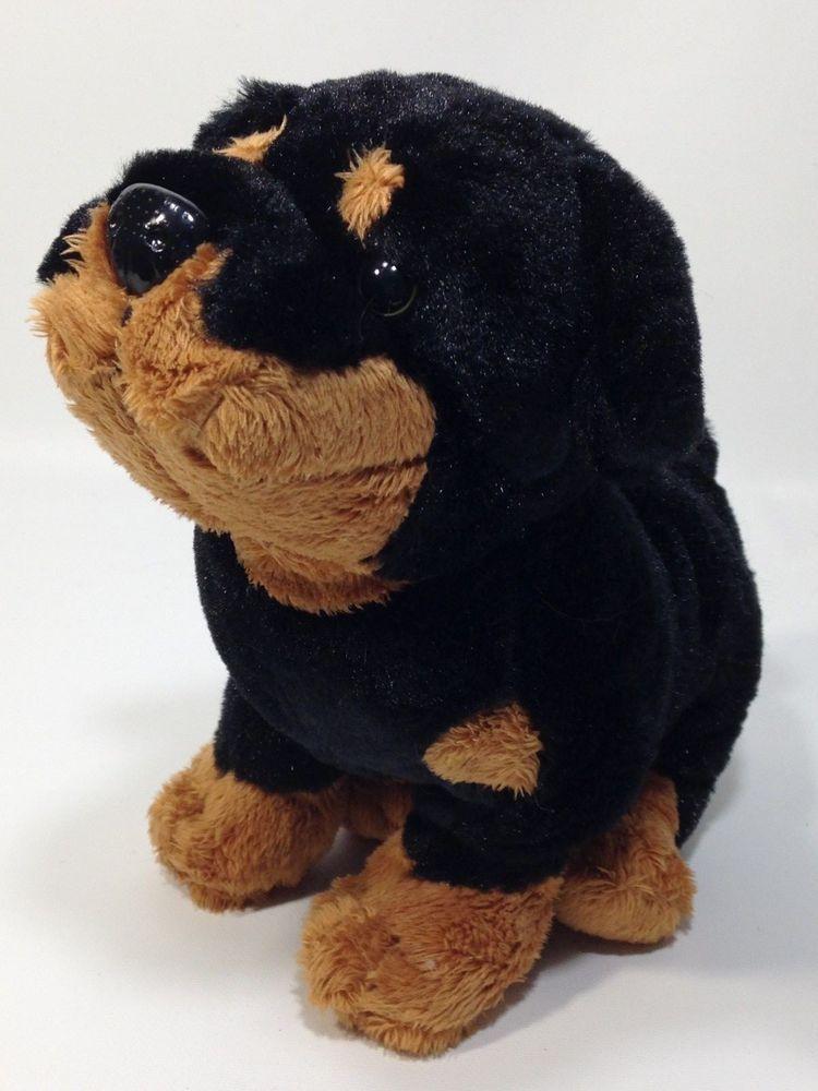 Ganz Webkinz Rottweiler Puppy Dog Plush Black Brown Stuffed Animal