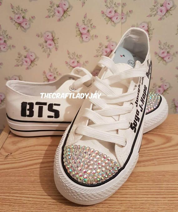 UK EU US bangtan boys bts custom made low canvas lace up white and black  shoes bling jimin jin jungkook rapmonster j-hope v suga names