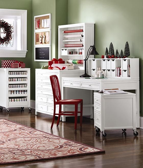 Craft room inspiration studio ideen pinterest martha stewart pin up magazine articles and other sources of creative inspiration while you work in this martha stewart living picket fence white craft space chalkboard watchthetrailerfo