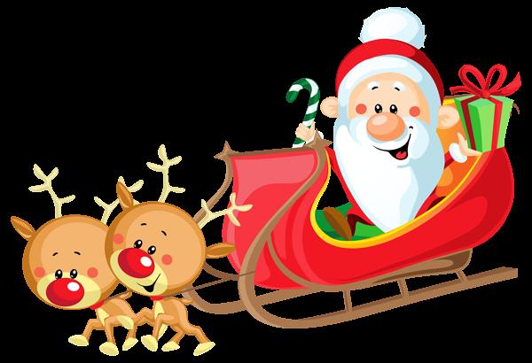 Cute Santa With Sleigh Png Clipart Image Santa Claus Images Santa Claus Photos Santa