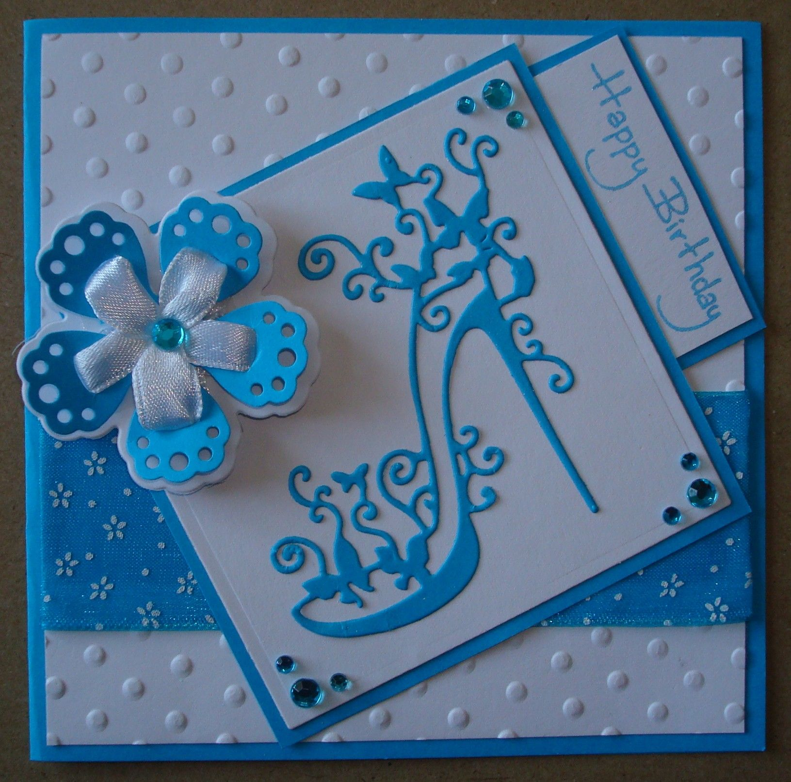 Ordinary Card Making Ideas Using Tattered Lace Dies Part - 8: Hand Made Birthday Card Using Tattered Lace Shoe Die And Ribbon Flower Die