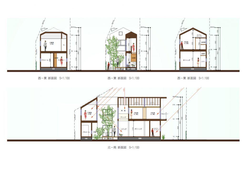 中庭のある家 間取り 断面計画 中庭のある家 間取り 住宅 間取り