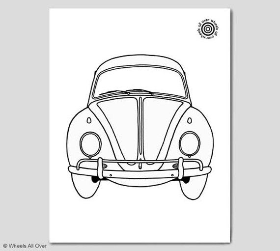 Classic car coloring book page! Featuring a Volkswagen Beetle. The ...