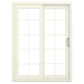 Jeld Wen V 4500 59 5 In 10 Lite Glass French Vanilla Vinyl Sliding Patio Door With Screen Lowoljw155900078 Vinyl Sliding Patio Door Sliding Patio Doors