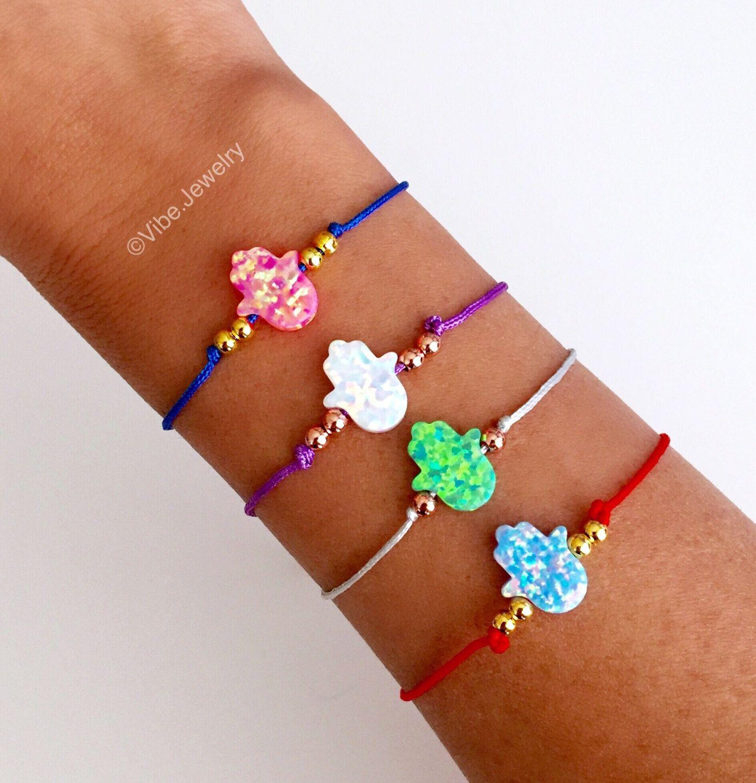 Hamsa Bracelet, Evil Eye bracelet, Opal hamsa, String Bracelet, good luck charm, adjustable bracelet, macrame string, Rose Gold Plated beads by VibeJewelryAnnaK on Etsy