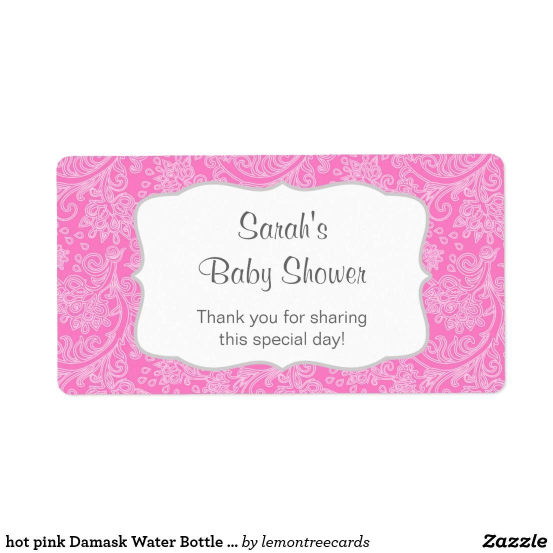 hot pink Damask Water Bottle favor u customize Label | Favors and ...
