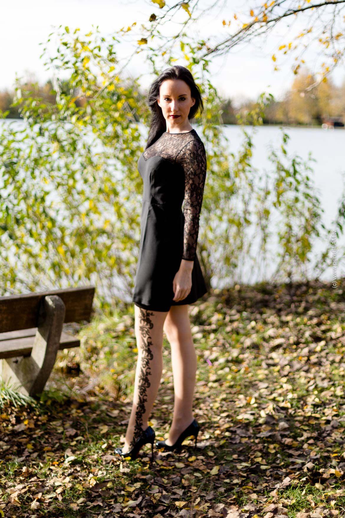minikleid mit spitzen strumpfhose eleganter fashion look minis and fashion. Black Bedroom Furniture Sets. Home Design Ideas